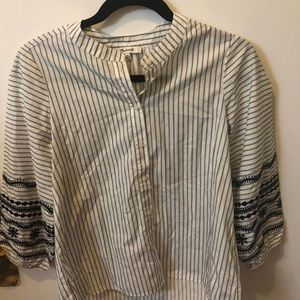 Madewell Striped Embroidered Sleeve Shirt